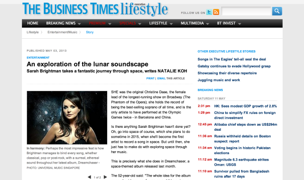 Sarah Brightman Business Times Singapore